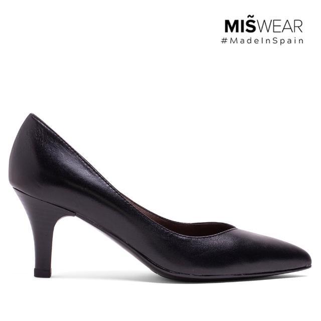 【MISWEAR】女-跟鞋-MISWEAR 真皮寬版尖頭高跟鞋-質感黑