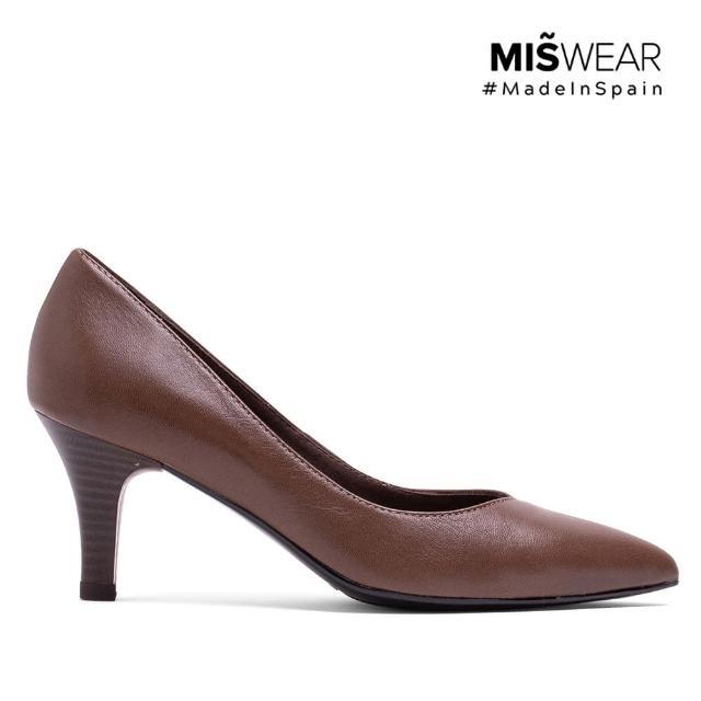 【MISWEAR】女-跟鞋-MISWEAR 真皮寬版尖頭高跟鞋-可可棕