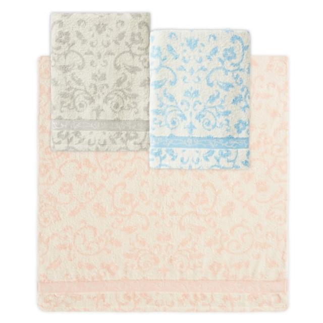 【Gemini 雙星】巴洛克花園浴巾(日本技術前染後織色紗緹花)