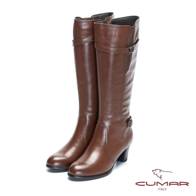【CUMAR】率性柔美-不對襯細緻腳踝帶粗跟長靴(大地咖)