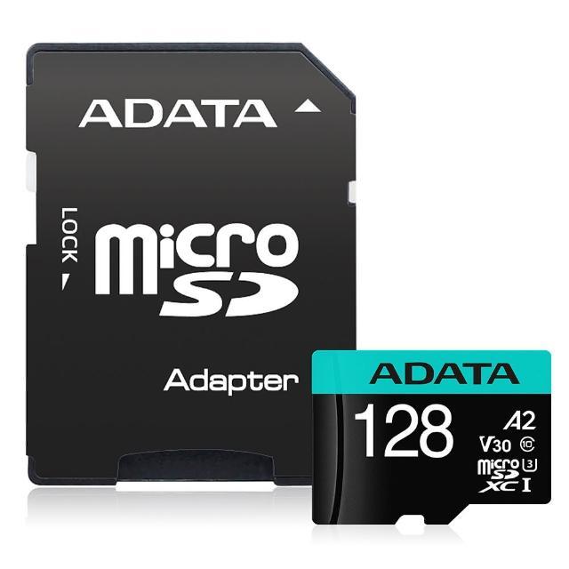 【ADATA 威剛】Premier Pro microSDXC UHS-I U3 A2 V30 128G記憶卡-附轉卡