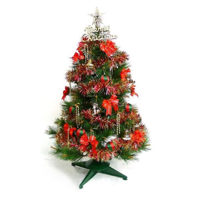 【摩達客】耶誕-3尺/3呎-90cm台灣製特級綠松針葉聖誕樹(含紅金色系配件/不含燈/本島免運費)