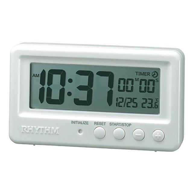 【RHYTHM 麗聲】防水防潮設計數字計時器電子鐘(日期/溫度顯示)