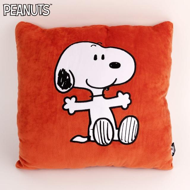 【SNOOPY 史努比】史努比手打開方形抱枕