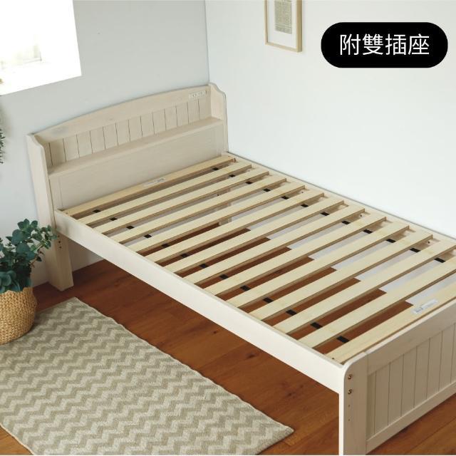 【完美主義】日系簡約單人床架組附插座/木床架(二色可選)