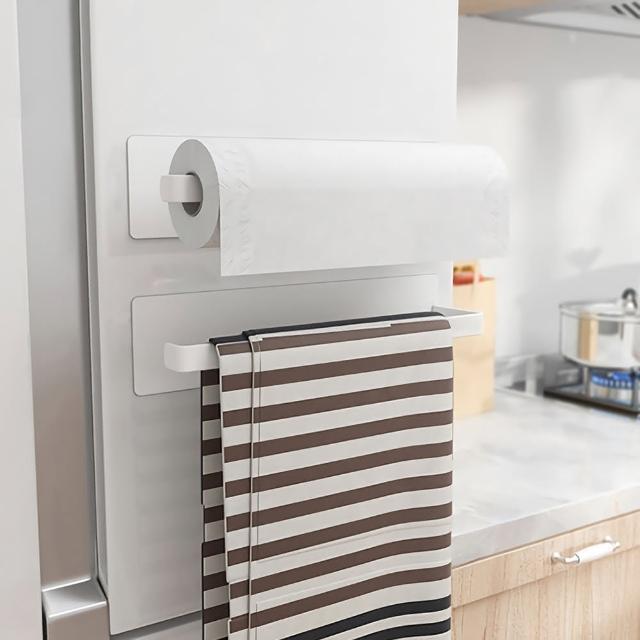 【MAG】冰箱磁吸式廚房紙巾架 無痕掛勾收納架 毛巾保鮮膜抹布置物架 洗衣機免打孔掛架