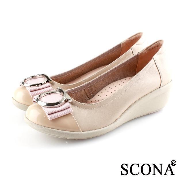 【SCONA 蘇格南】全真皮 輕盈舒適OL厚底鞋(粉色 31051-2)