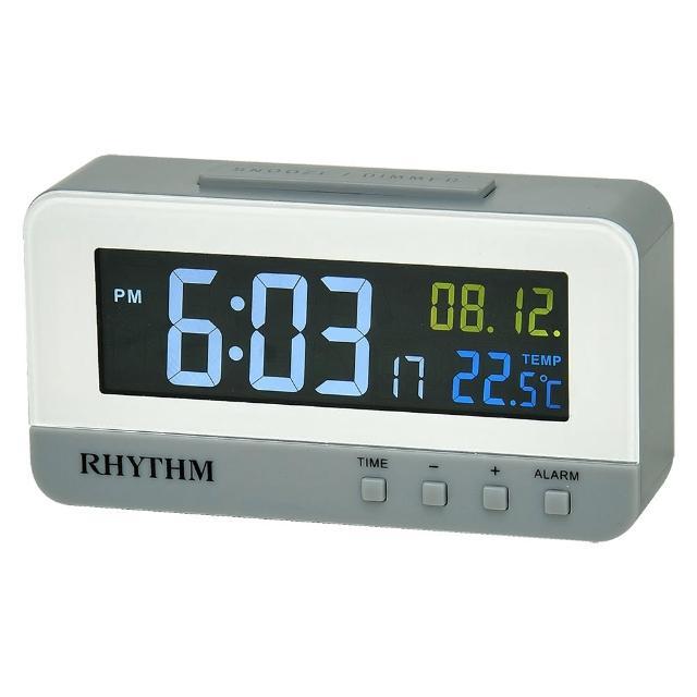 【RHYTHM 麗聲】流行炫彩LCD液晶顯示電子鐘(彩色燈光日期/溫度LCD顯示)