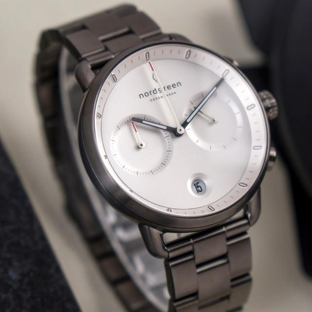 【Nordgreen】ND手錶 Pioneer 先鋒 42mm 深空灰殼×白面 深空灰三珠精鋼錶帶(PI42GM3LGUXX)