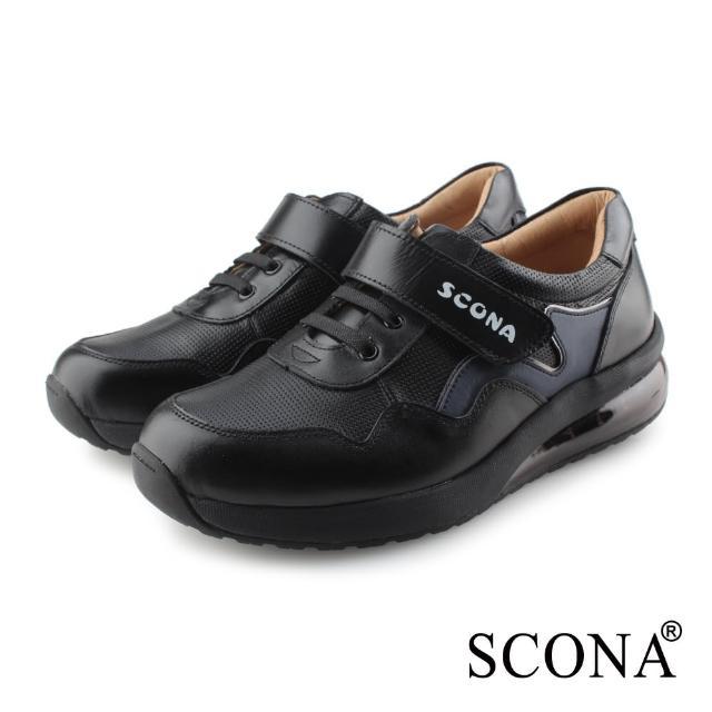 【SCONA 蘇格南】全真皮 舒適減壓氣墊休閒鞋(黑色 1280-1)