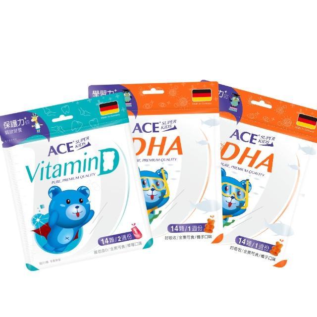 【ACE】ACE Superkids 德國機能營養Q系列 維他命D*1+DHA*2(3入 2週體驗組)