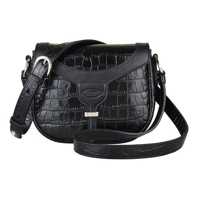 【TOD'S】TOD'S NEW JOY黑字壓印LOGO鱷魚紋設計牛皮扣帶斜背包(黑)