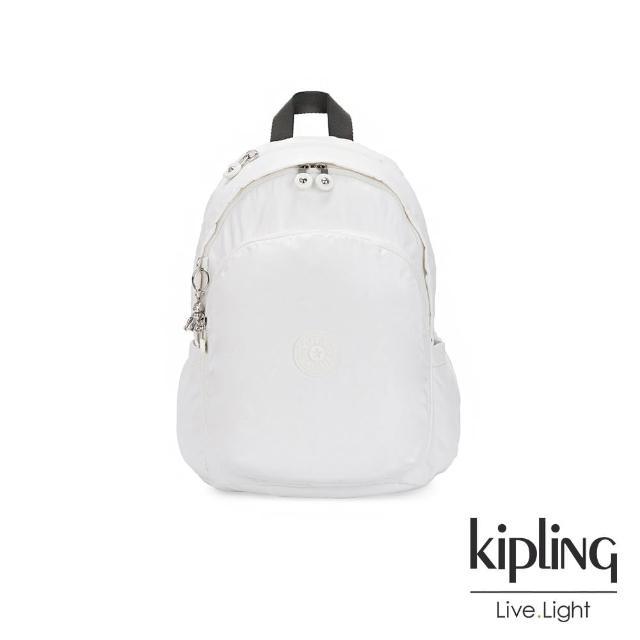 【KIPLING】時尚極簡白上方拉鍊後背包-DELIA