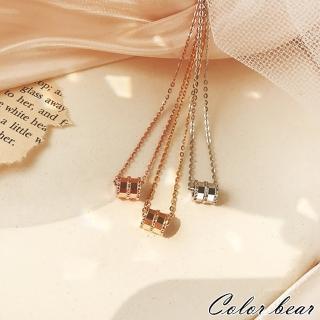 【卡樂熊】S925純銀簡約圓圈鑲鑽造型鎖骨鍊/項鍊(三色)