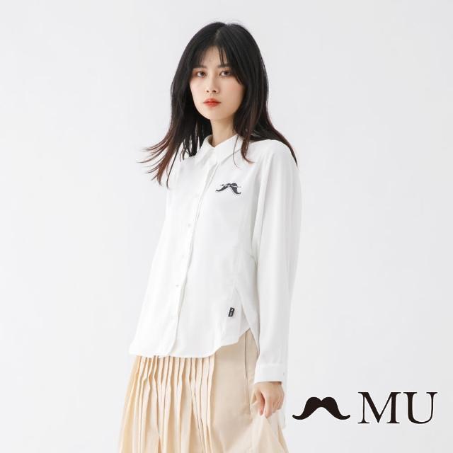 【maru.a】MU 鬍子LOGO前短後長顯瘦剪裁襯衫(白色)