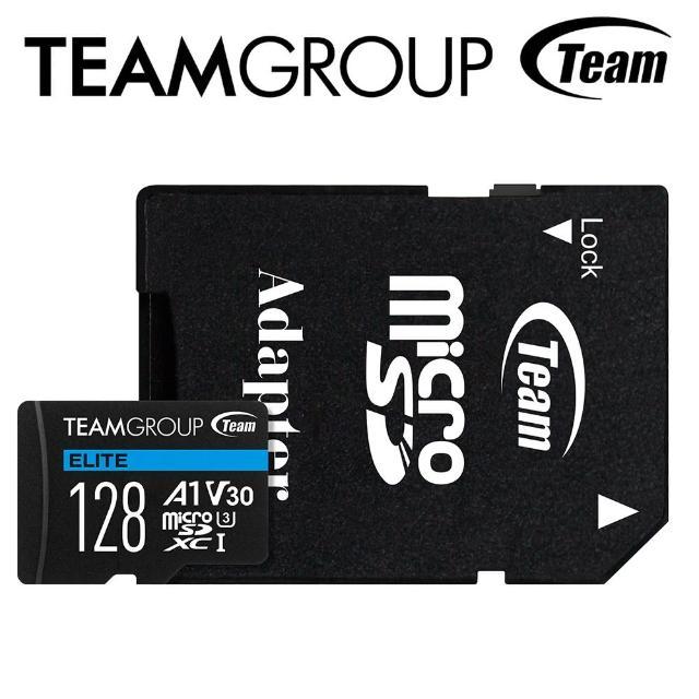 【Team 十銓】128G MicroSDXC UHS-I U3 ELITE A1 4K專用高速記憶卡(含轉卡)