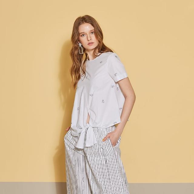 【ICHE 衣哲】3D蝴蝶結飾刺繡印花襯衫造型上衣-沁白