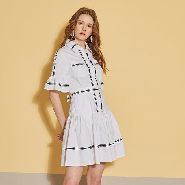 【ICHE 衣哲】時尚荷葉拼接撞色勾勒造型襯衫洋裝-質感白