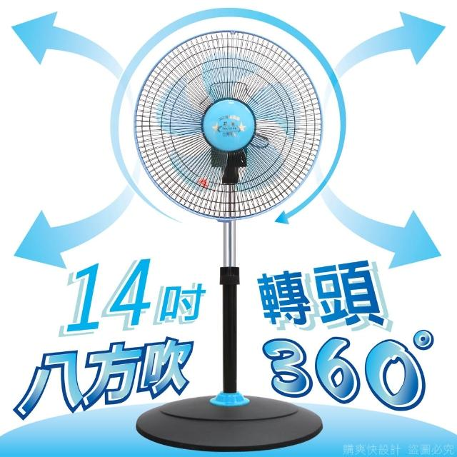 【雙星】14吋360度旋轉擺頭立扇 TS-1418(台灣製造 電風扇)