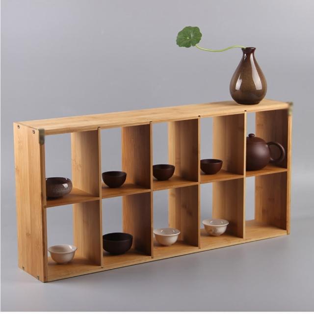 【原藝坊】竹製多寶格小方格 置物架/收納架(十格)