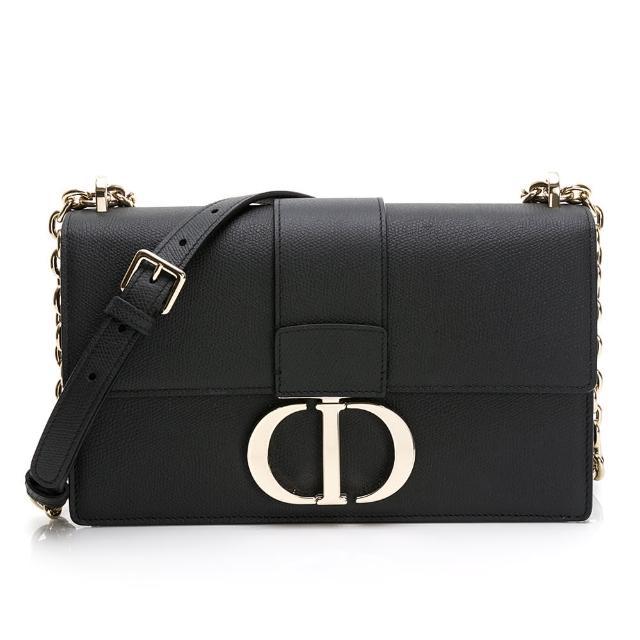 【Dior 迪奧】30 MONTAIGNE鍊帶荔枝牛皮蒙田包(黑色)