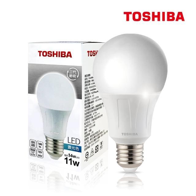 【TOSHIBA 東芝】11W 護眼 高顯色 LED燈泡-三色任選(白光/黃光/自然色)
