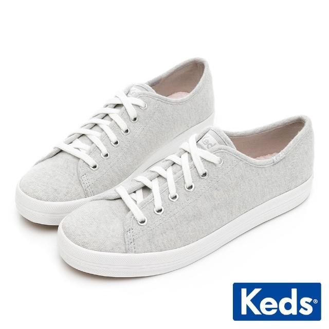 【Keds】KICKSTART 美式線條織紋休閒鞋(灰)