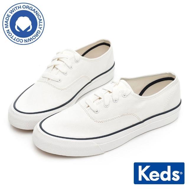 【Keds】SURFER 極簡線條時尚有機棉休閒鞋(白)