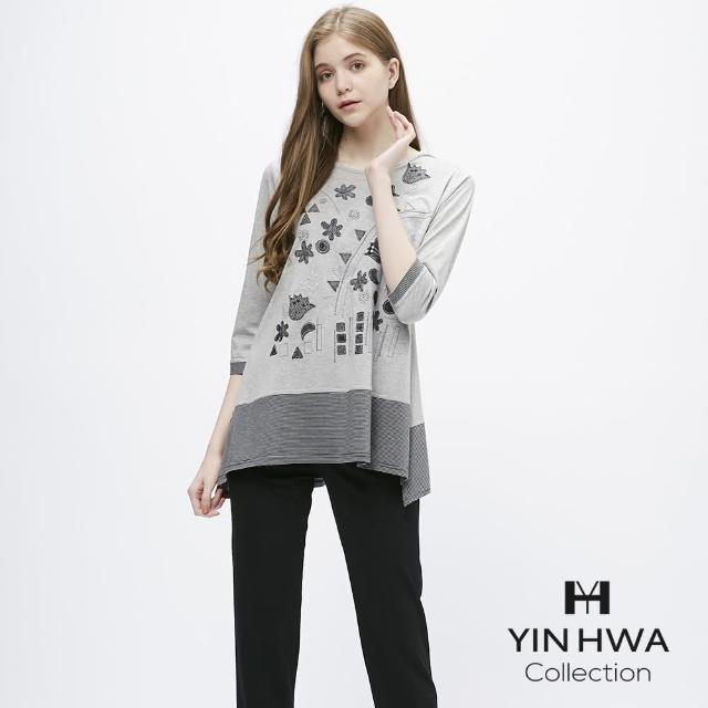 【YIN HWA 盈樺】JIONE 簡約自然生活系貼布繡圖案上衣