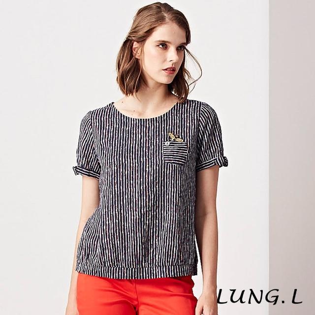 【LUNG.L 林佳樺】LH26A#藍色直條紋胸前口袋蜜蜂短袖上衣