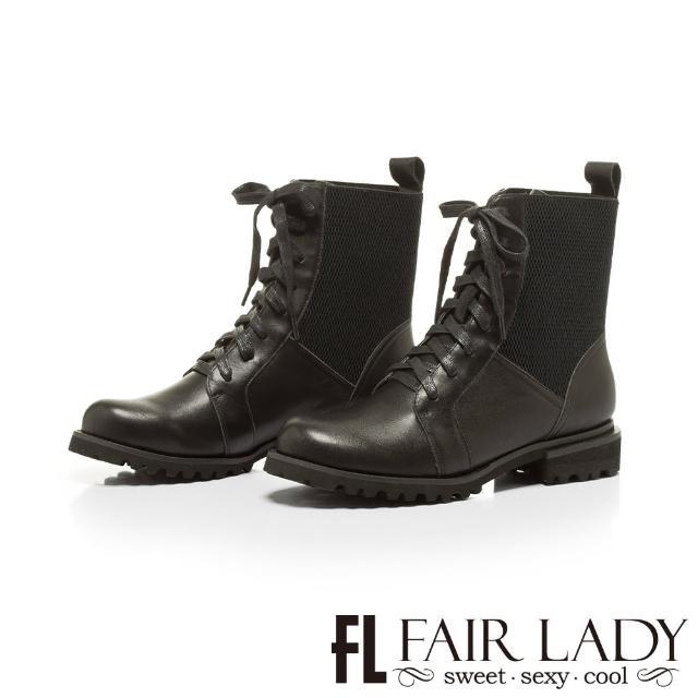 【FAIR LADY】質感異材質拼接側鬆緊機車靴(黑、722213)