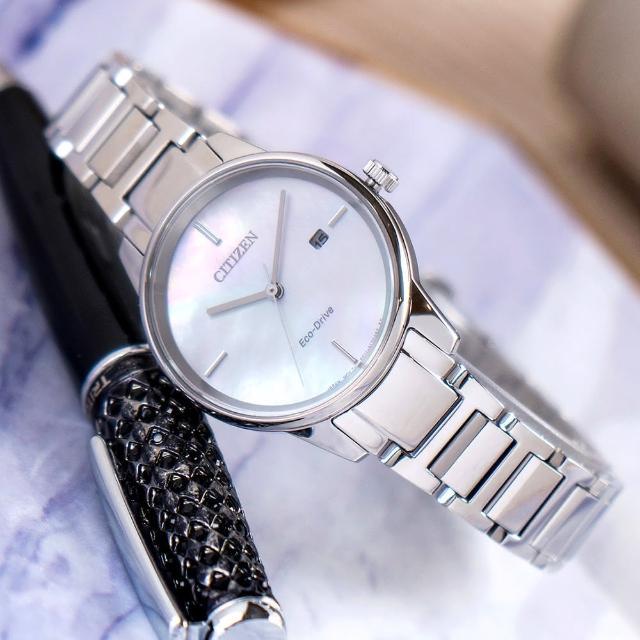【CITIZEN 星辰】典雅質感光動能白蝶貝不鏽鋼腕錶/銀x白面(EW2590-85D)