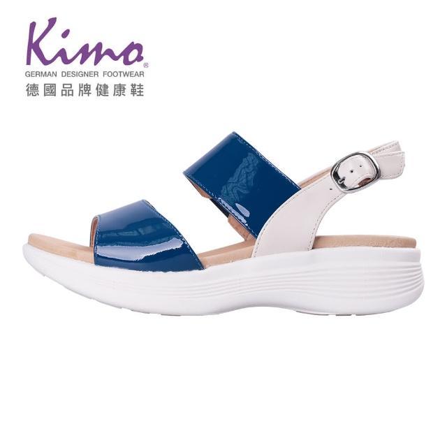 【Kimo】牛漆皮一字繫帶涼鞋 女鞋(藍 KBJSF147026)