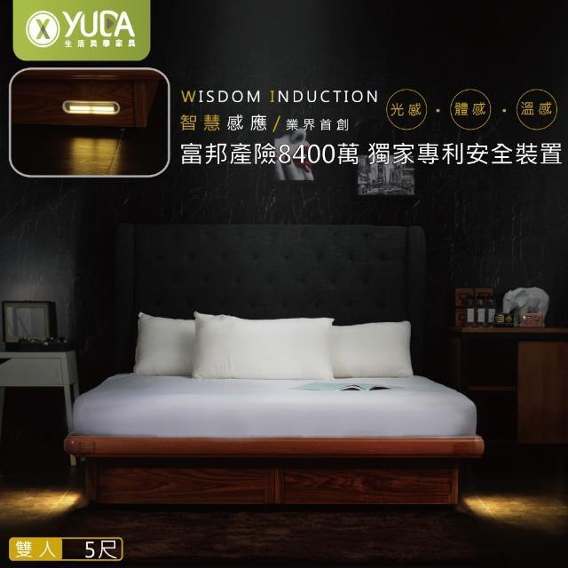 【YUDA 生活美學】專利智能掀床人體 感應LED 標準雙人 5尺 安全掀床(投保8400萬安全裝置)