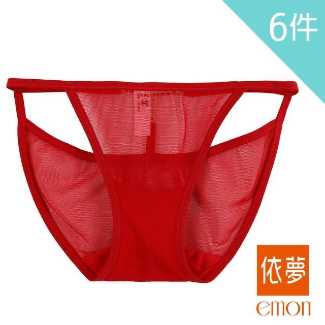 【emon】T型美鑽 性感透膚低腰三角褲 6件組(隨機色)