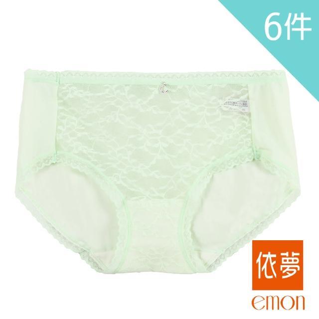 【emon】漫步仙境 蠶絲蛋白透膚中腰三角褲 6件組(隨機色)