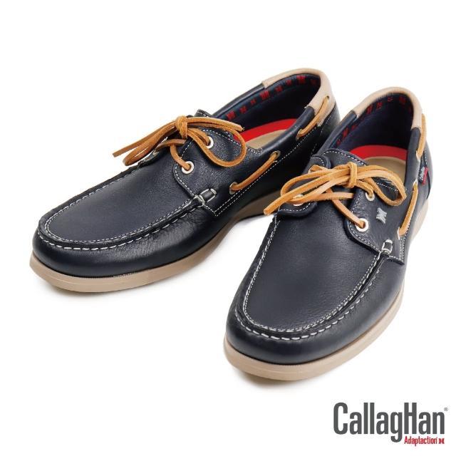 【CallagHan】雅痞風格真皮帆船鞋 海軍藍(43800-BU)
