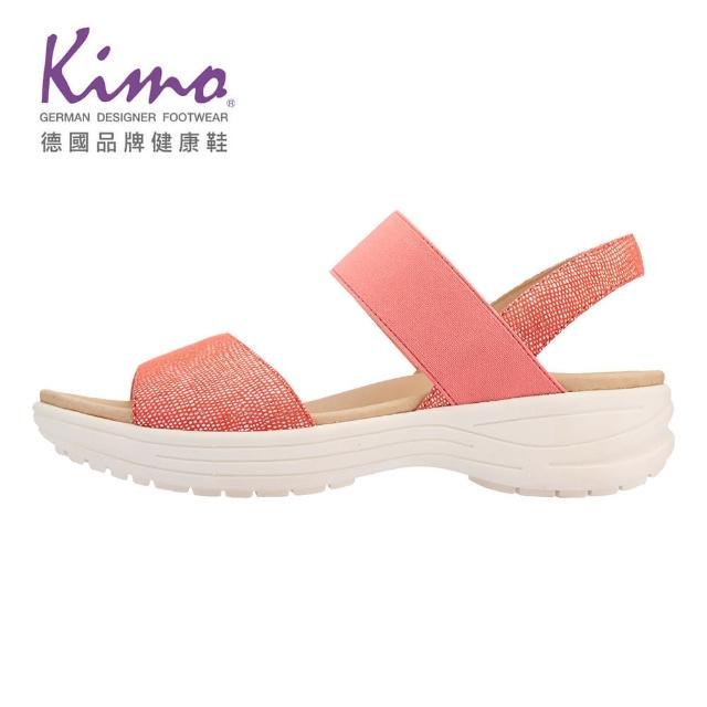 【Kimo】山羊皮彈性繫帶涼鞋 女鞋(珊瑚紅 KBASF150047)