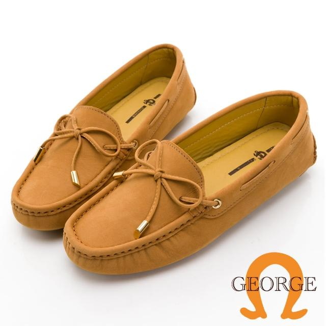 【GEORGE 喬治皮鞋】麂皮金屬蝴蝶結樂福鞋 女-棕 031005BJ