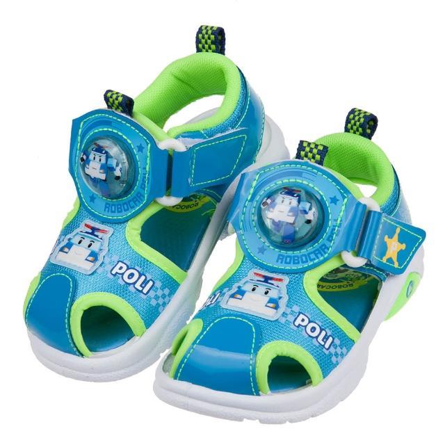 【布布童鞋】POLI救援小英雄波力藍綠自黏兒童電燈護趾涼鞋(B1H216B)