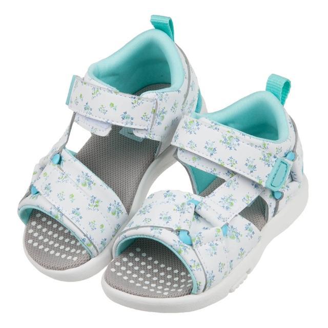 【布布童鞋】Moonstar日本速乾花卉白色兒童機能涼鞋(I1C811M)