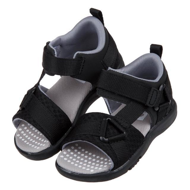 【布布童鞋】Moonstar日本速乾低調黑色兒童機能涼鞋(I1C816D)