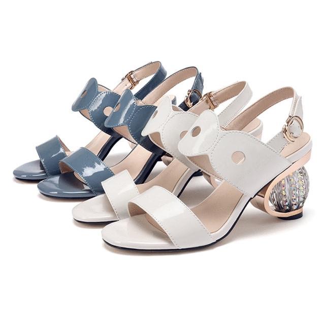 【Taroko】璀璨圓寶石粗跟一字扣帶牛漆皮夏季涼鞋(2色可選)