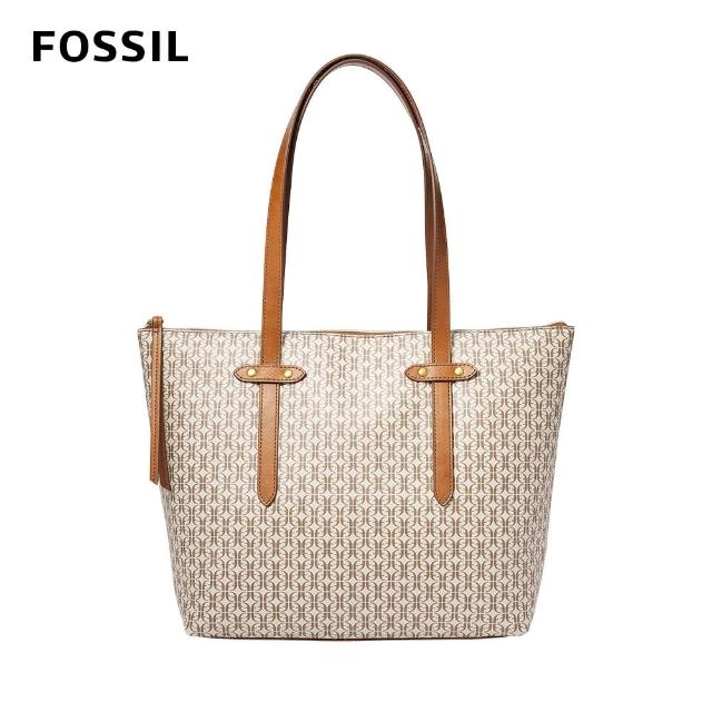 【FOSSIL】Felicity logo印花拉鍊托特包-淺褐色 SHB2311939