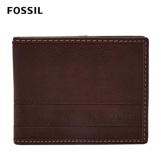 【FOSSIL】Lufkin 柔軟多卡兩折短夾-咖啡色 SML1392201