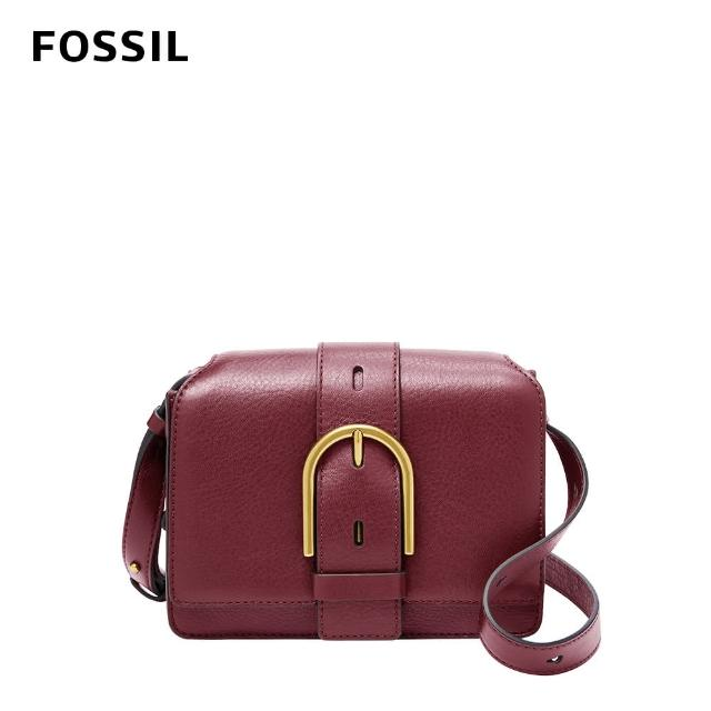 【FOSSIL】Wiley 真皮復古美型側背包-咖啡紅色 ZB7885599