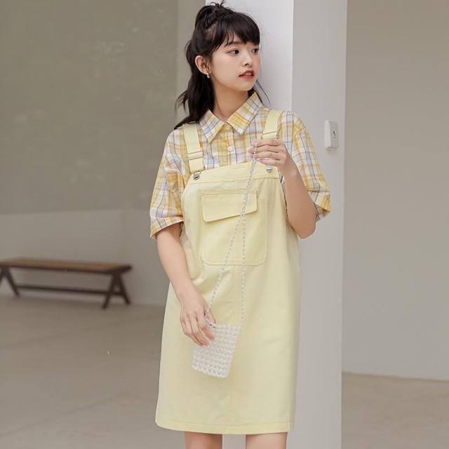 【WHATDAY】可愛馬卡龍女孩寬鬆直筒吊帶裙S-L(共三色)