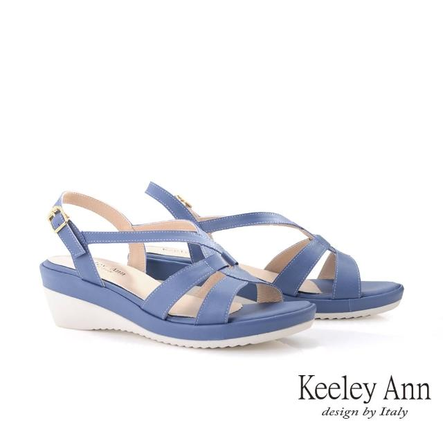 【Keeley Ann】極簡魅力 MIT素面繞帶楔型涼鞋(藍色132223160)