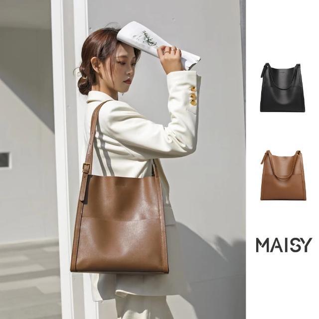 【MAISY】真皮復古風大容量水桶包(現+預 焦糖色 / 黑色)
