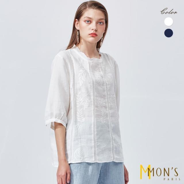 【MON'S】刺繡荷葉領亞麻上衣(100%亞麻)